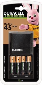 Duracell batterijlader Hi-Speed Advanced Charger, inclusief 2 AA en 2 AAA batterijen, op blister