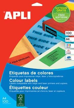 Apli Gekleurde etiketten ft 210 x 297 mm (b x h), rood, 100 stuks, 1 per blad