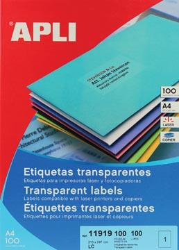 Apli Transparante etiketten ft 210 x 297 mm (b x h), 100 stuks, 1 per blad, doos van 100 blad