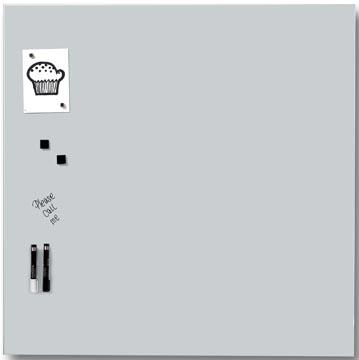 Naga magnetisch glasbord, wit, ft 100 x 100 cm