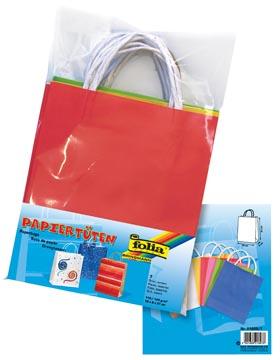 Folia papieren kraft zak, 110-125 g/m², geassorteerde kleuren, pak van 7 stuks