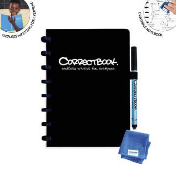 Correctbook A5 Original: uitwisbaar / herbruikbaar notitieboek, gelijnd, zwart