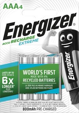 Energizer herlaadbare batterijen Extreme AAA, blister van 4 stuks