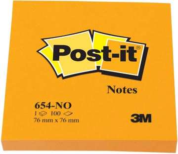 Post-it Notes, ft 76 x 76 mm, neonoranje, blok van 100 vel