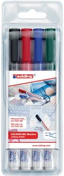 Edding permanent marker CD/DVD/BD 8400, blister van 4 stuks in geassorteerde kleuren