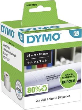 Dymo etiketten LabelWriter ft 89 x 36 mm, wit, 2 x 260 etiketten