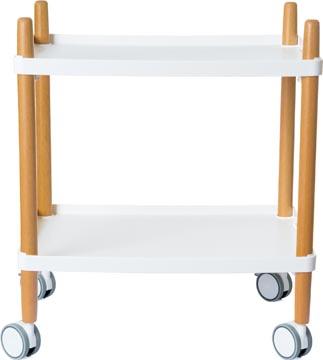 Trolley met 2 legplanken, uit hout, wit