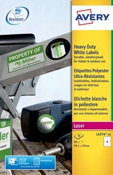 Avery L4774-20 ultra-sterke etiketten ft 99,1 x 139 mm (b x h), 80 etiketten, wit