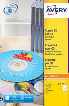 Avery L7676-25 CD etiketten, diameter 117 mm, 50 etiketten, wit